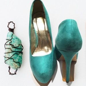 FRH Light Teal Platform High Heel Pumps